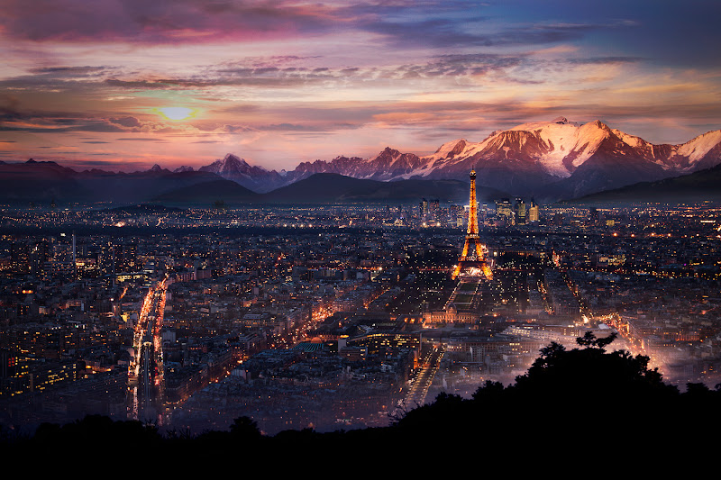 Photo: Composite: the roof of Paris in the alpes  A while ago,  I had fun mixing up two photos one of the  roofs of Paris and another one from the Alpes in France, giving the idea that Paris is surrounded by mountains.  If you want to know more about my composite technique's check out my Photoshop CS 6 Quickstart course the Photoshop Composite course at : www.photoserge.com/apps  Hope you like it.  #WowWednesday #PlusPhotoExtract #AmazingLandscapes +Rolf Hicker #compositing