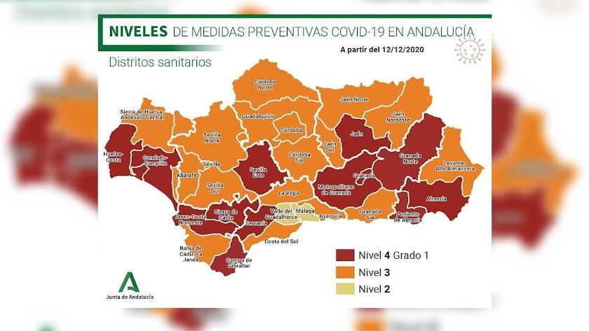 Mapa de los niveles de medidas preventivas Covid-19 en Andalucía.