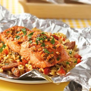 Grilled Salmon Paella Foil Packs