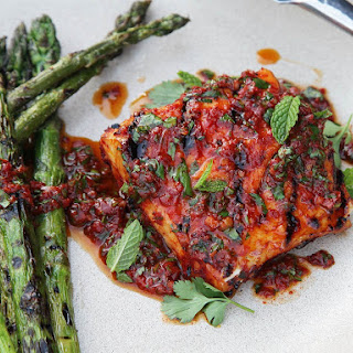 Red Curry-Rubbed Grilled Halibut With Curry Vinaigrette