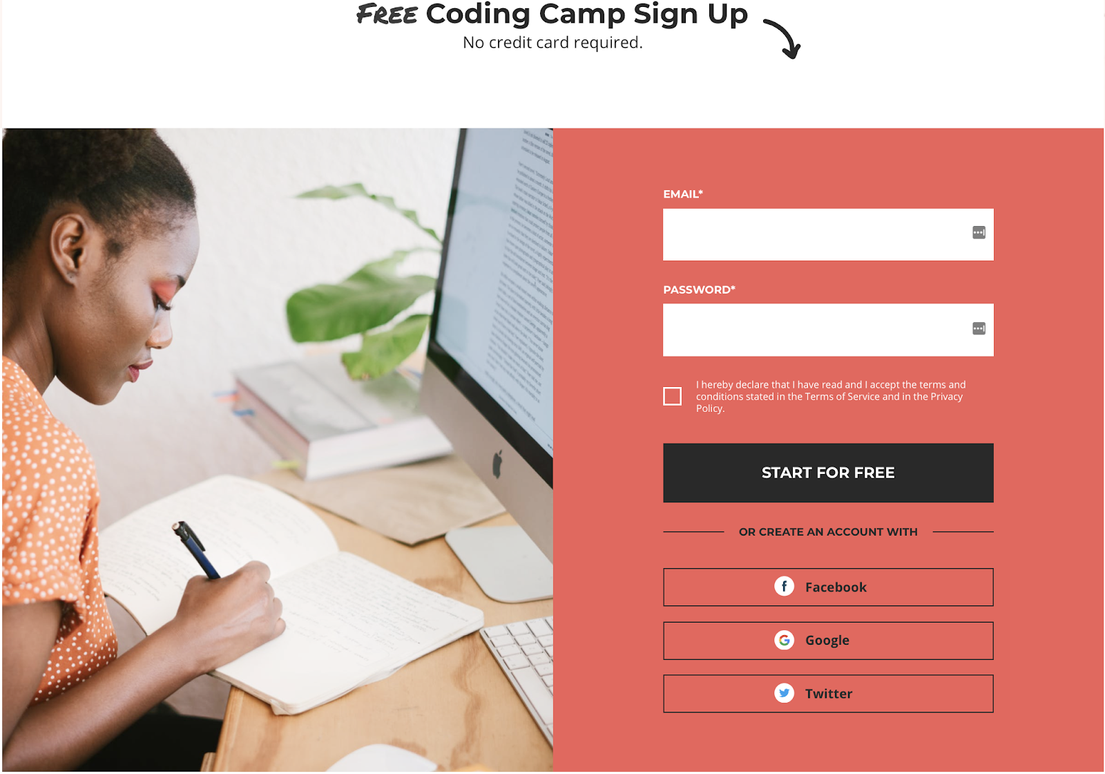 Coding camp signup form for sales intelligence collection