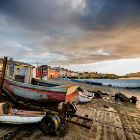 boat aground by Cristina Orlandini - Landscapes Cloud Formations ( portmagee, ireland, nature, colors, boats, cloudscape, sea, ocean view, island,  )