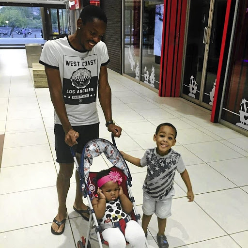 Polokwane City defender Thabiso Semenya takes time out to go shopping with his kids. Inset: Semenya is happy again with a new love, Petogo Mothiba, and is engaged to her.