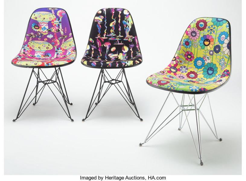 Takashi Murakami Modernica Chair, set of three, 2019. Image from Heritage Auctions.