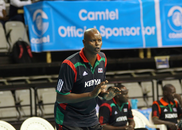 Paul Bitok shouting instructions to his charges during Kenya's Olympic qualifiers duel in Yaounde, Cameroon