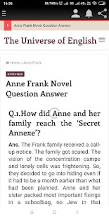 Anne Frank Question Answer