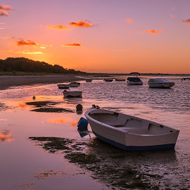 Costal Sunset by Keith Walmsley - Landscapes Sunsets & Sunrises ( shore, clouds, reflection, ripples, sunset, australia, boats, victoria, landscape, coast )