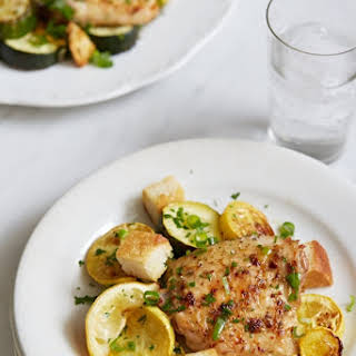 Roasted Chicken Thighs with Summer Squash.