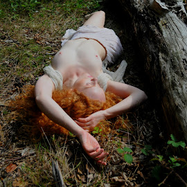 Eurydice by DJ Cockburn - Nudes & Boudoir Artistic Nude ( redhead, forest, woman, nature, natural light, topless, ivory flame, nude, portrait, lying )