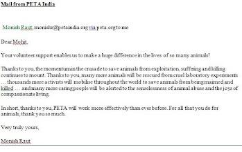 Photo: Appreciation Letter - PETA India (2011)