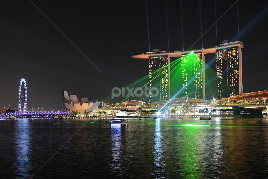 The Marina Bay Sands Singapore by Lindra Hismanto - Travel Locations Landmarks ( sands, lindra, laser show, hismanto, marina bay, singapore )
