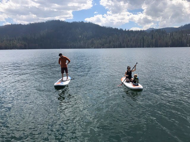 SUP with nephews in Huntington Lake, CA