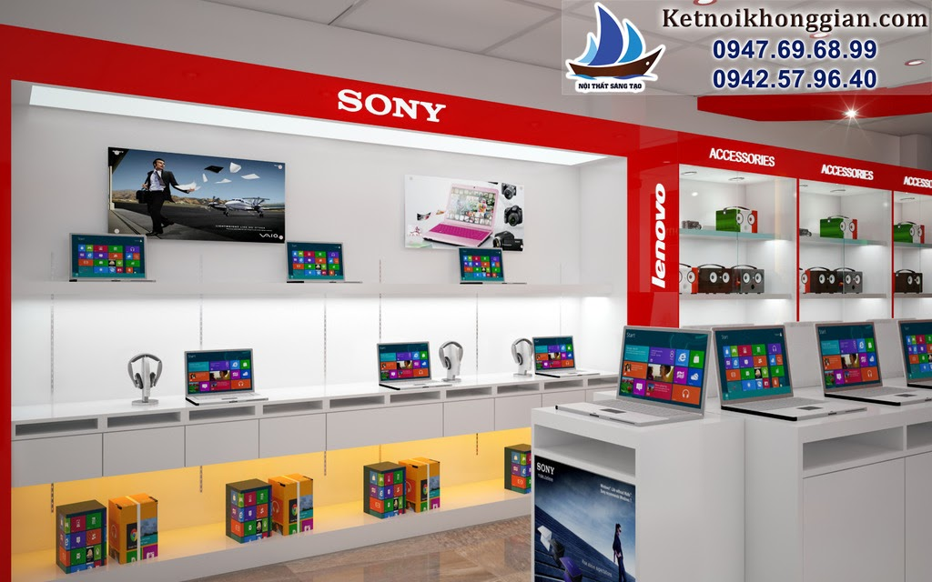thiết kế cửa hàng máy tính tinh tế