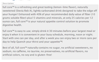 """Photo: I wanted to include a close up of the product description because it is straight forward and informative. I didn't drink it before my meal, I drank it in the afternoon when I want to snack very badly. Note- """"no sugar, no artificial sweeteners""""- that was very important to me Stevia is a safe sugar with zero calories that I already love and use!"""