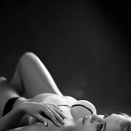 Smokey Somting by Eduard Labuschagne - Nudes & Boudoir Boudoir ( thinking, black and white, relaxing, smoke, eyes,  )