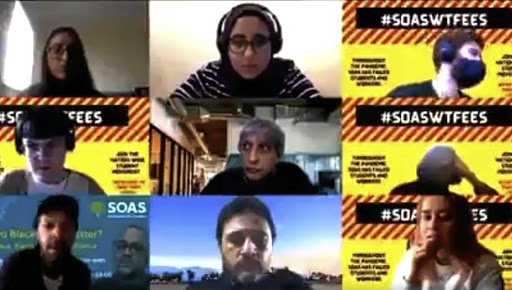 Adam Habib, centre, in the video call with students during which he used the N-word.