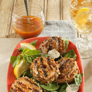 Pecan-Crusted Pork Tenderloin Pinwheels with Carolina Mustard Sauce.