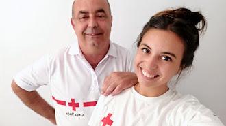 Baltasar Aquilino y Anna, padre e hija, se estrenan de voluntarios en Cruz Roja en plena pandemia.