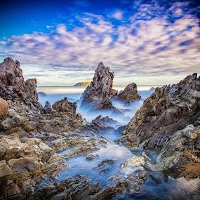 slow waves by Nicole Rix - Landscapes Waterscapes ( clouds, waterscape, sea, rock formation, seascape, rocks, filter, mist,  )