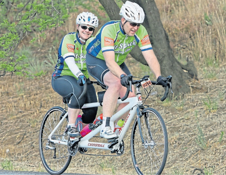 Pedal pair: Daryl Mendes and wife, Alloutte, in training ahead of Sunday's 94.7 ride. Picture: SUPPLIED