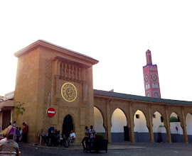 Photo: Mosque at the Grand Socco (central square) which divides the old Medina from the newer part of Tangier.
