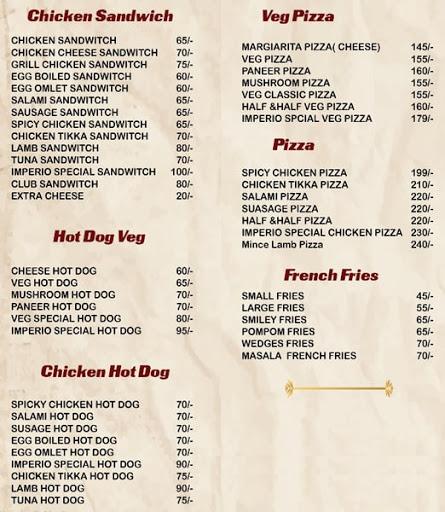 Food Menu 4 of Imperio Restaurant, Kalyan Nagar, Bangalore