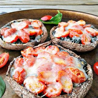 Spinach, Tomato, & Italian Cheese Stuffed Portobello Mushrooms.