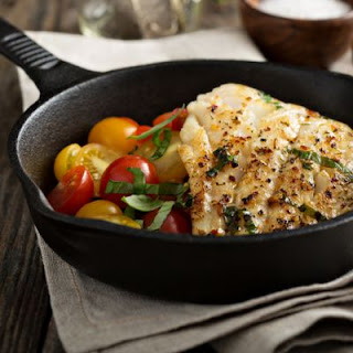 Grilled Cod With Tomatoes.