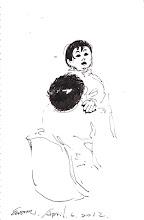 Photo: 親親寶貝2012.04.06鋼筆 難得遇到女監收容人帶著小孩來醫療中心看診,小寶貝好奇地不斷張望…