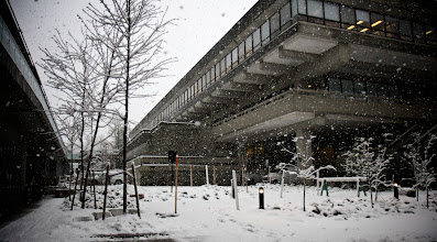 Photo: A Snowy Strand Hall at Simon Fraser University (2), December 12, 2008, photo by Graham Ballantyne, downloaded from flikr under a Creative Commons Attribution-NonCommercial-NoDerivs 2.0 Generic license