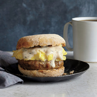 Sausage, Gravy, and Egg Breakfast Sandwiches.