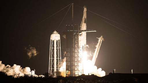 A SpaceX Falcon 9 rocket carrying the company's Crew Dragon spacecraft is launched on NASA's SpaceX Crew-1 mission to the International Space Station.
