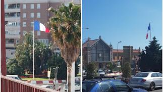 Dos fotografías en las que puede verse la bandera de Francia en la glorieta de la Estación Intermodal.