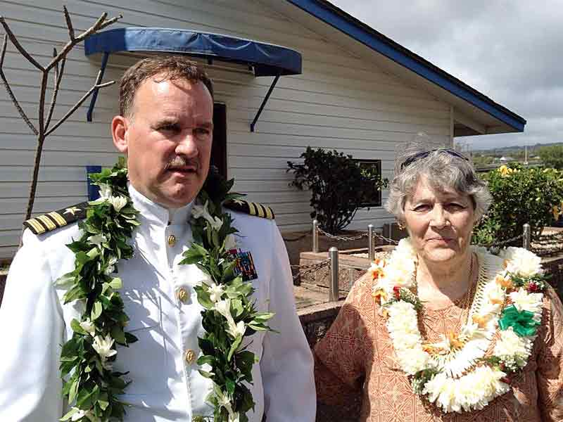 """Photo: Commander """"SailorBlue"""" and Janice prior to his Retirement Ceremony at Pearl Harbor on February 22, 2013. SailorBlue had made reservations and put down deposits for the Tsai-ko Aloha Stadium tailgate site for over 3 years. photo by LizKauai."""