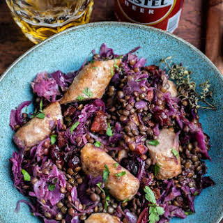 Beer-braised Sausages, Lentils And Red Cabbage.