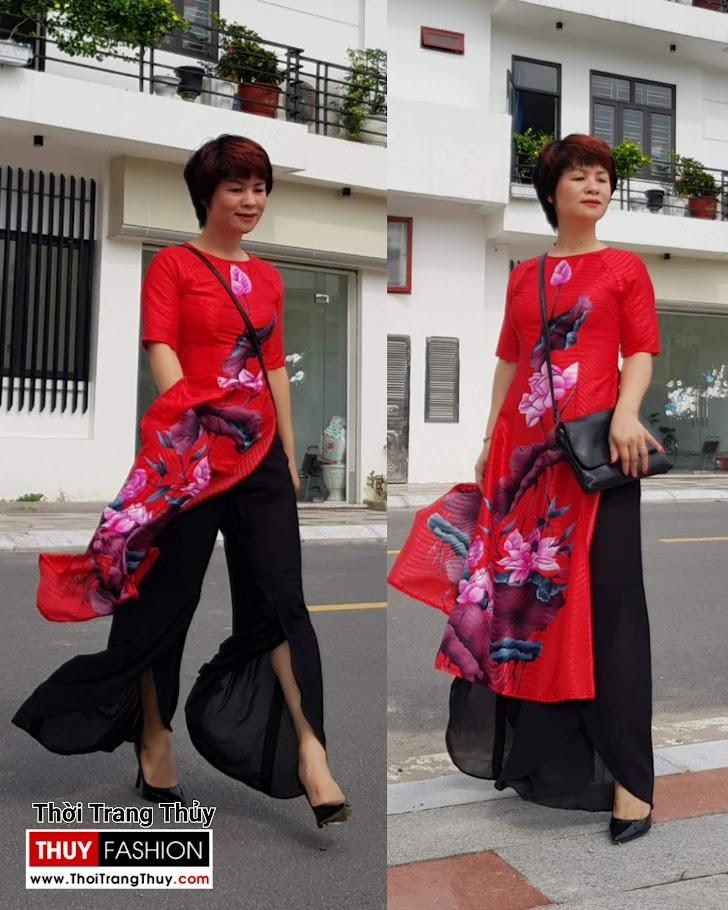 mẫu Áo dài Cách tân hoa sen mới nhất 2019 thời trang thuỷ đà nẵng