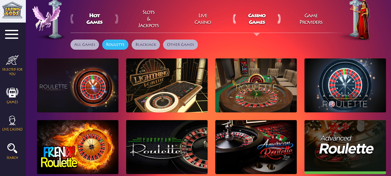 Casino Gods has loads of excellent roulette games you can play