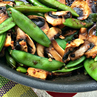 Snap Peas and Mushrooms in Black Bean Sauce.