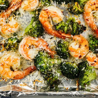 Garlic Parmesan Roasted Shrimp and Broccoli.