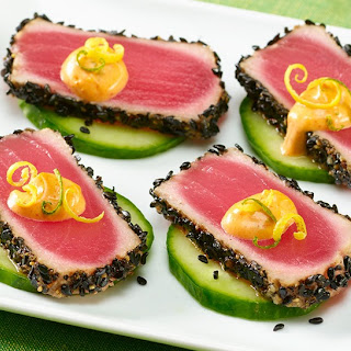 Black Sesame Ahi Tuna with Wasabi Citrus Aioli.