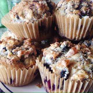 Blueberry Greek Yogurt Muffins with Crystalized Ginger