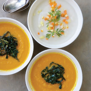 Ivory Carrot Soup with a Fine Dice of Orange Carrots.