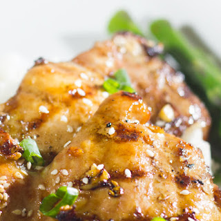 Grilled Soy Garlic Chicken Thighs with Sesame Seeds.