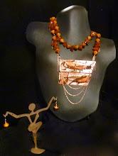 Photo: <BEREHYNYA> {Great Goddess Protectress} unique one-of-a-kind statement jewellery by Luba Bilash ART & ADORNMENT  # 73 - ENDURANCE - ТРИВАЛІСТЬ - copper enamel pendants; amber; glass; rose gold vermeil $140/set SOLD