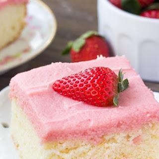Vanilla Cake with Fresh Strawberry Frosting.