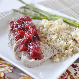Pork Tenderloin with Apple Cranberry Sauce.