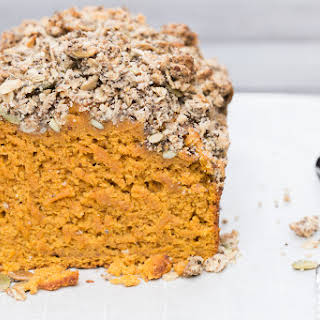 Pumpkin Bread with Oat & Seed Streusel Topping.