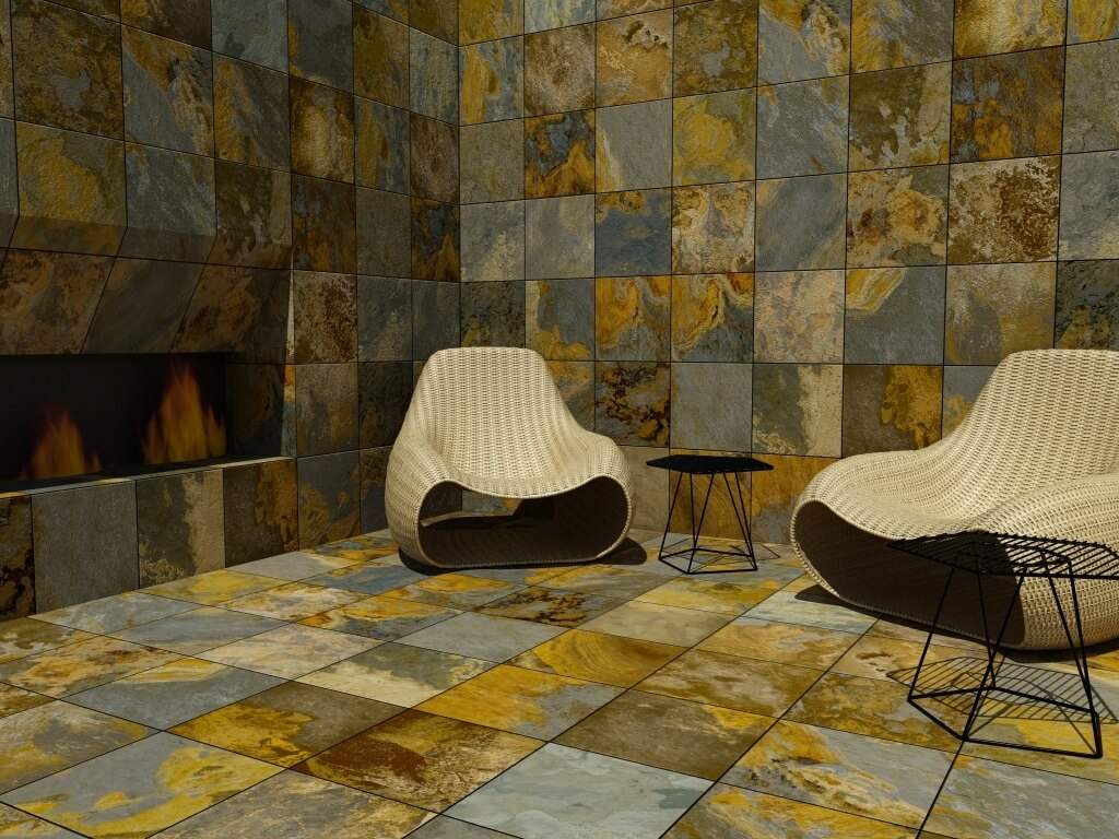 Square slate-look tile walls and flooring