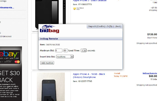 Bidbag Remote Ebay Sniper