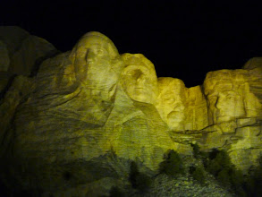 Photo: Day 24 Hot Springs SD to Mt Rushmore (Keystone SD) 53 miles 5600' climbing Evening presentation in Ampitheater, with lights shining on Mt